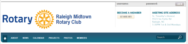 The website of the Raleigh Midtown Rotary Club is a good example of current information with nice photos. http://www.rotaryclubraleighmidtown.org/